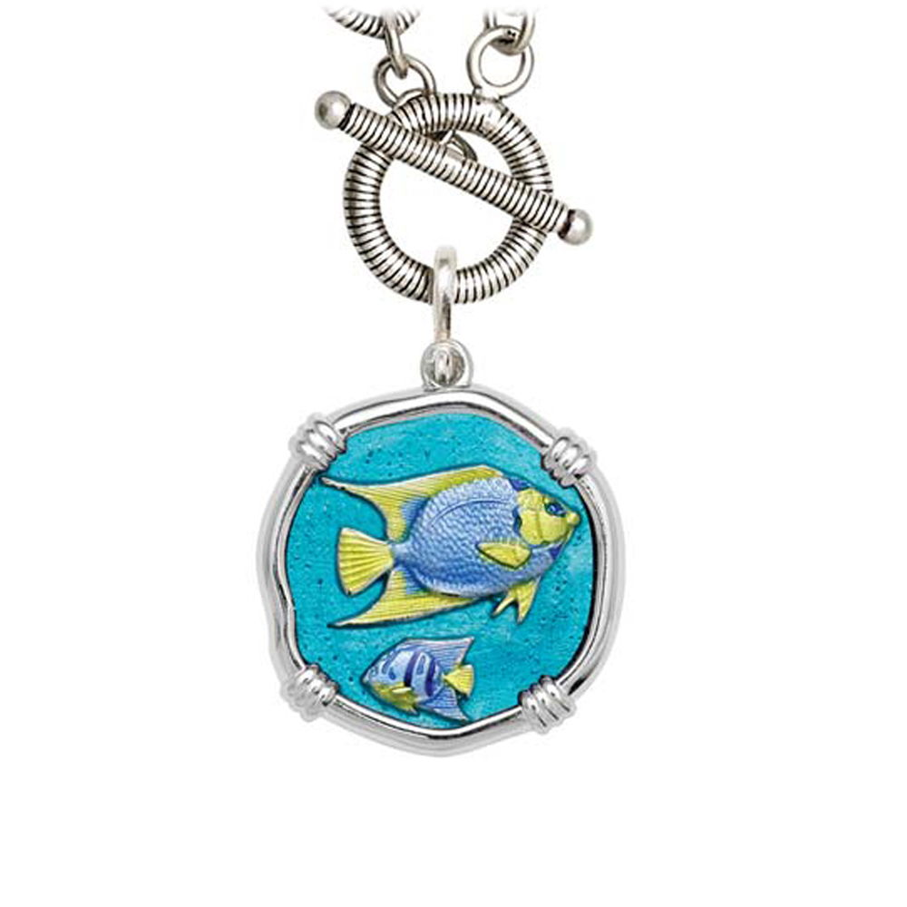 Guy Harvey Angelfish on Link Toggle Necklace Full Color Enamel Bright Finish 25mm Sterling Silver