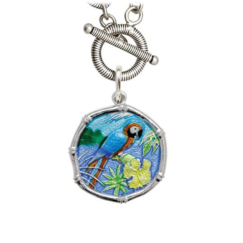 Guy Harvey Macaw on Link Toggle Necklace Full Color Enamel Bright Finish 25mm Sterling Silver