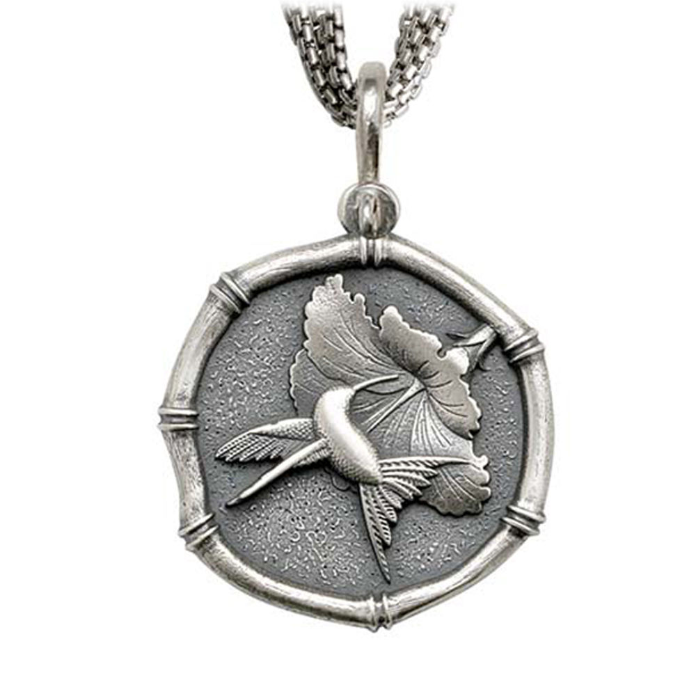 Hummingbird Sterling Silver on Five Strand Necklace Relic Finish 35mm Sterling Silver
