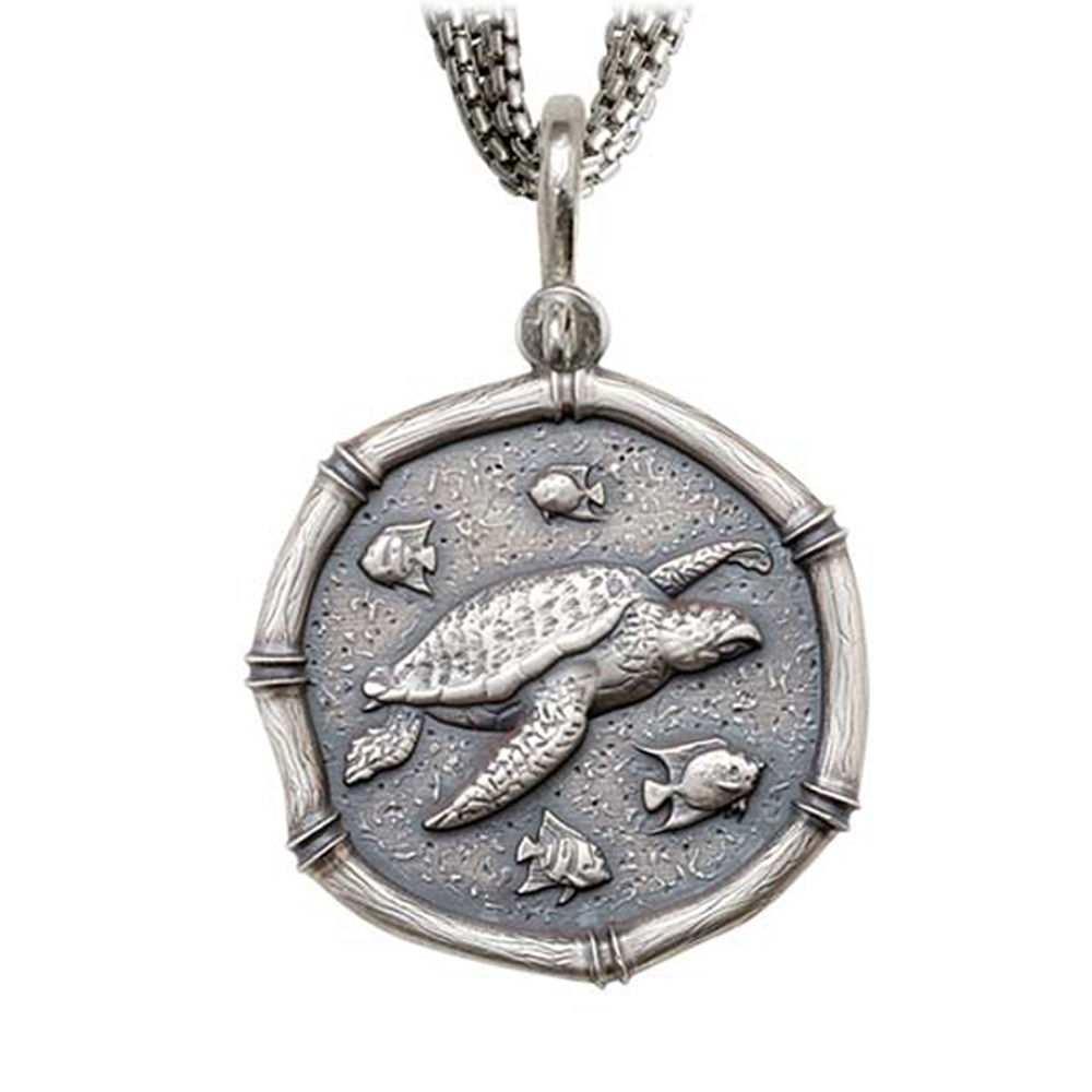 Sea Turtle on Five Strand Necklace Relic Finish 35mm Sterling Silver