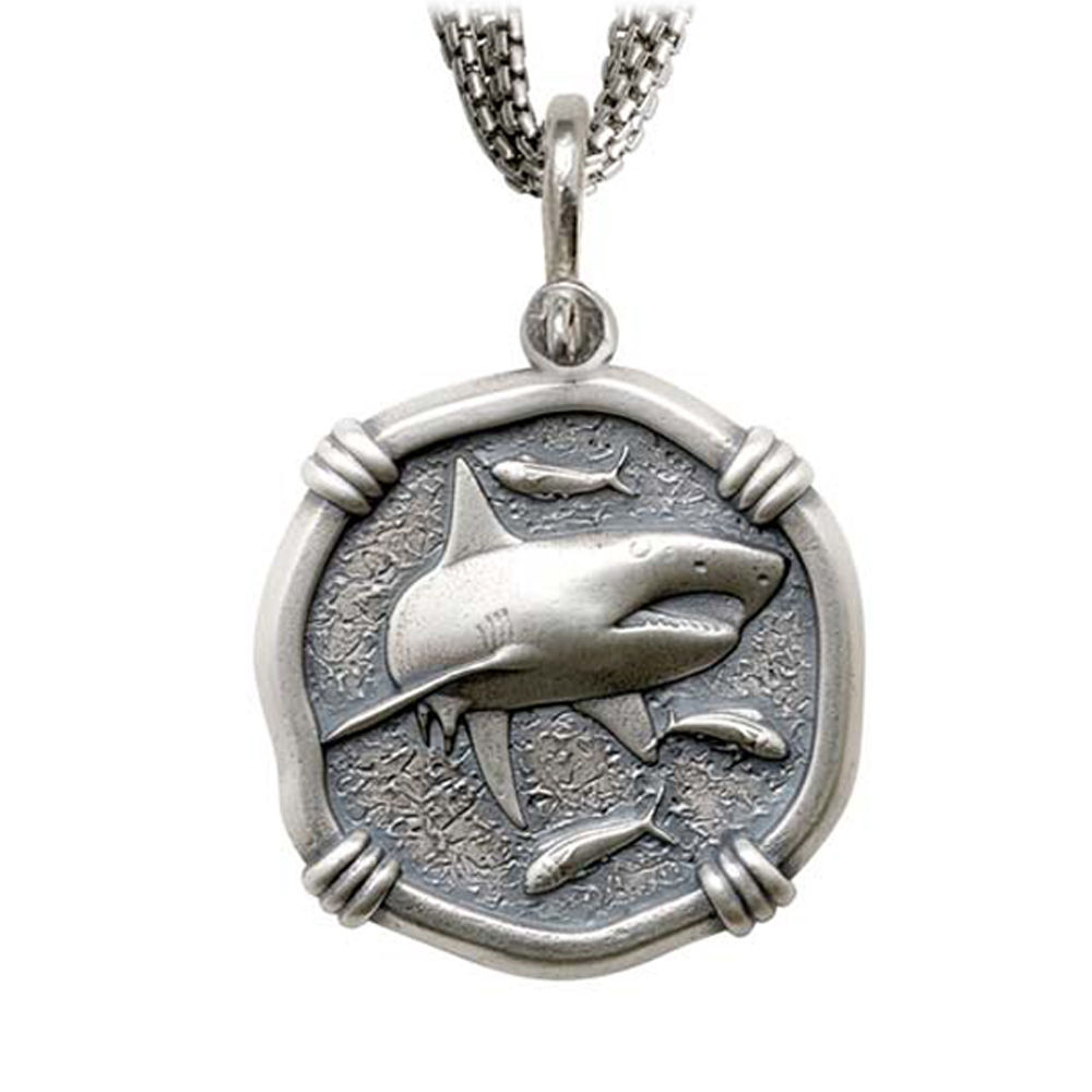 Shark on Five Strand Necklace Relic Finish 35mm Sterling Silver