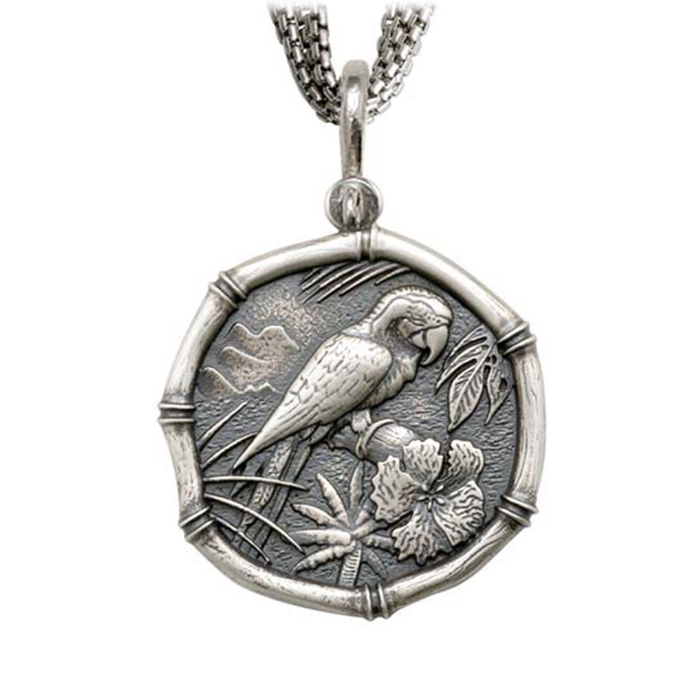 Macaw on Five Strand Necklace Relic Finish 35mm Sterling Silver