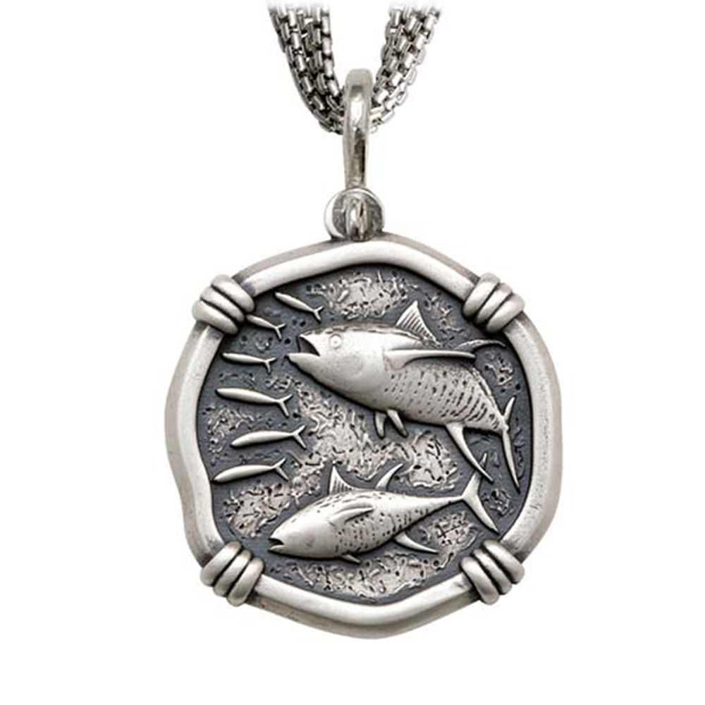 Tuna on Five Strand Necklace Relic Finish 35mm Sterling Silver