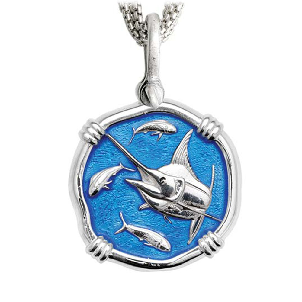Marlin on Five Strand Necklace Caribbean Blue Enamel Bright Finish 35mm Sterling Silver