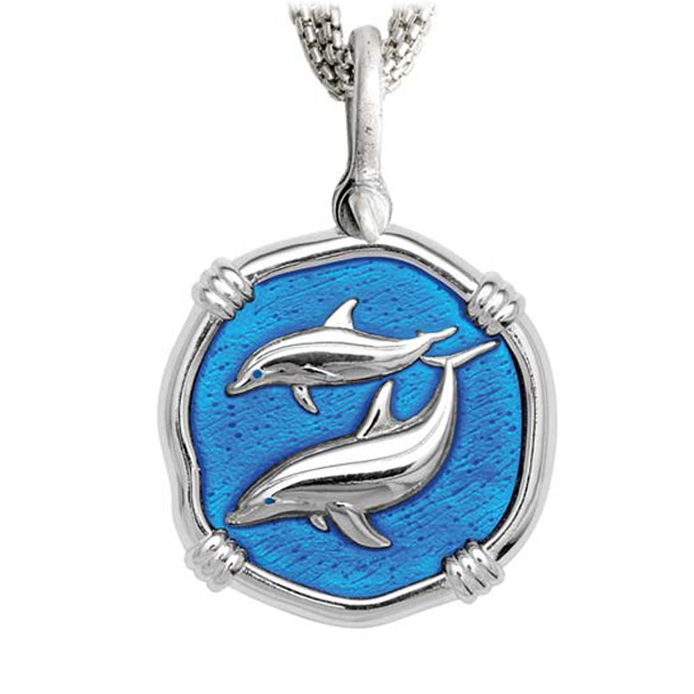 Porpoises on Five Strand Necklace Caribbean Blue Enamel Bright Finish 35mm Sterling Silver