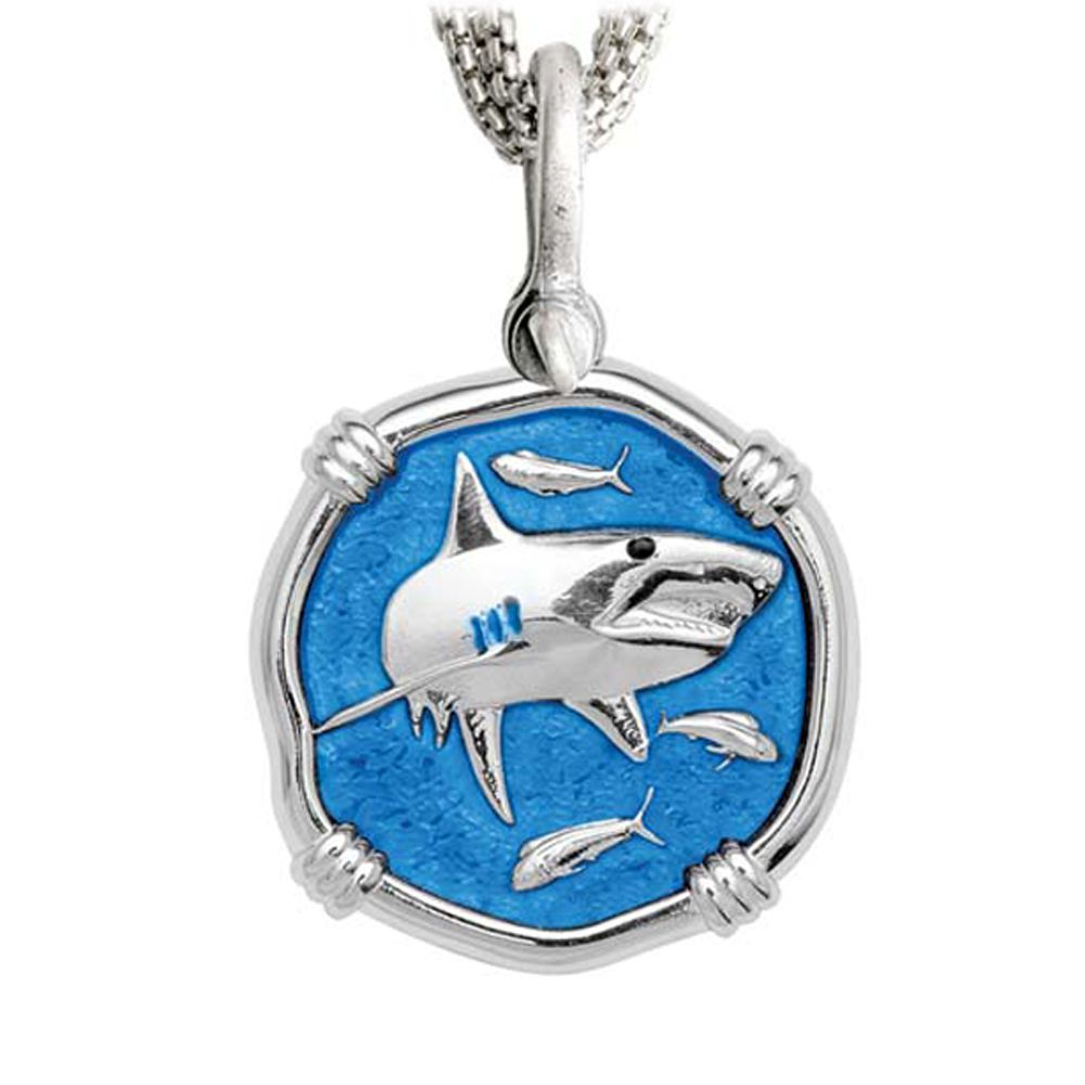 Shark on Five Strand Necklace Caribbean Blue Enamel Bright Finish 35mm Sterling Silver