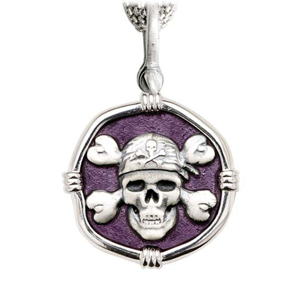 Pirate on Five Strand Necklace Purple Enamel Bright Finish 35mm Sterling Silver