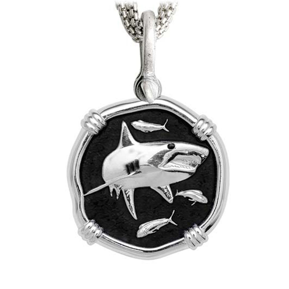 Shark on Five Strand Necklace Black Enamel Bright Finish 35mm Sterling Silver