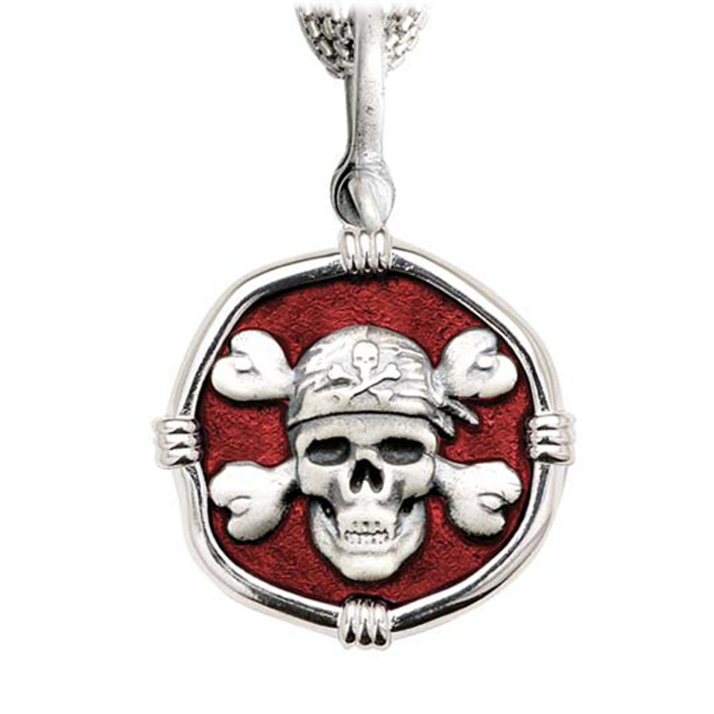Pirate on Five Strand Necklace Red Enamel Bright Finish 35mm Sterling Silver