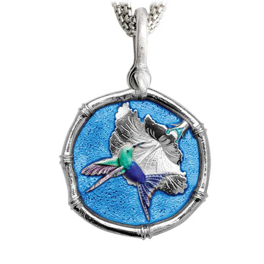 Guy Harvey Hummingbird Sterling Silver on Five Strand Necklace Full Color Blue Enamel