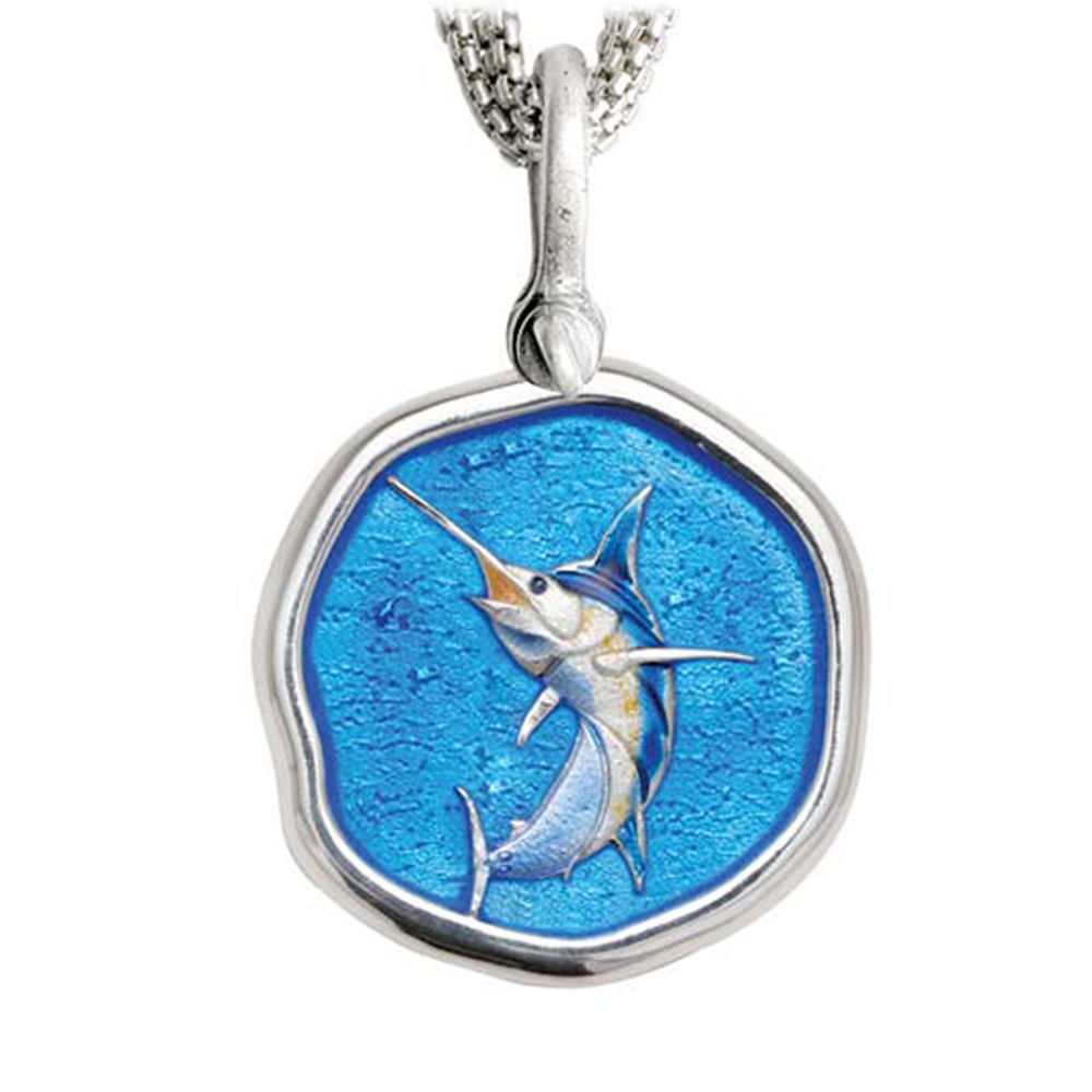 Marlin on Five Strand Necklace Full Color Enamel Bright Finish 35mm Sterling Silver