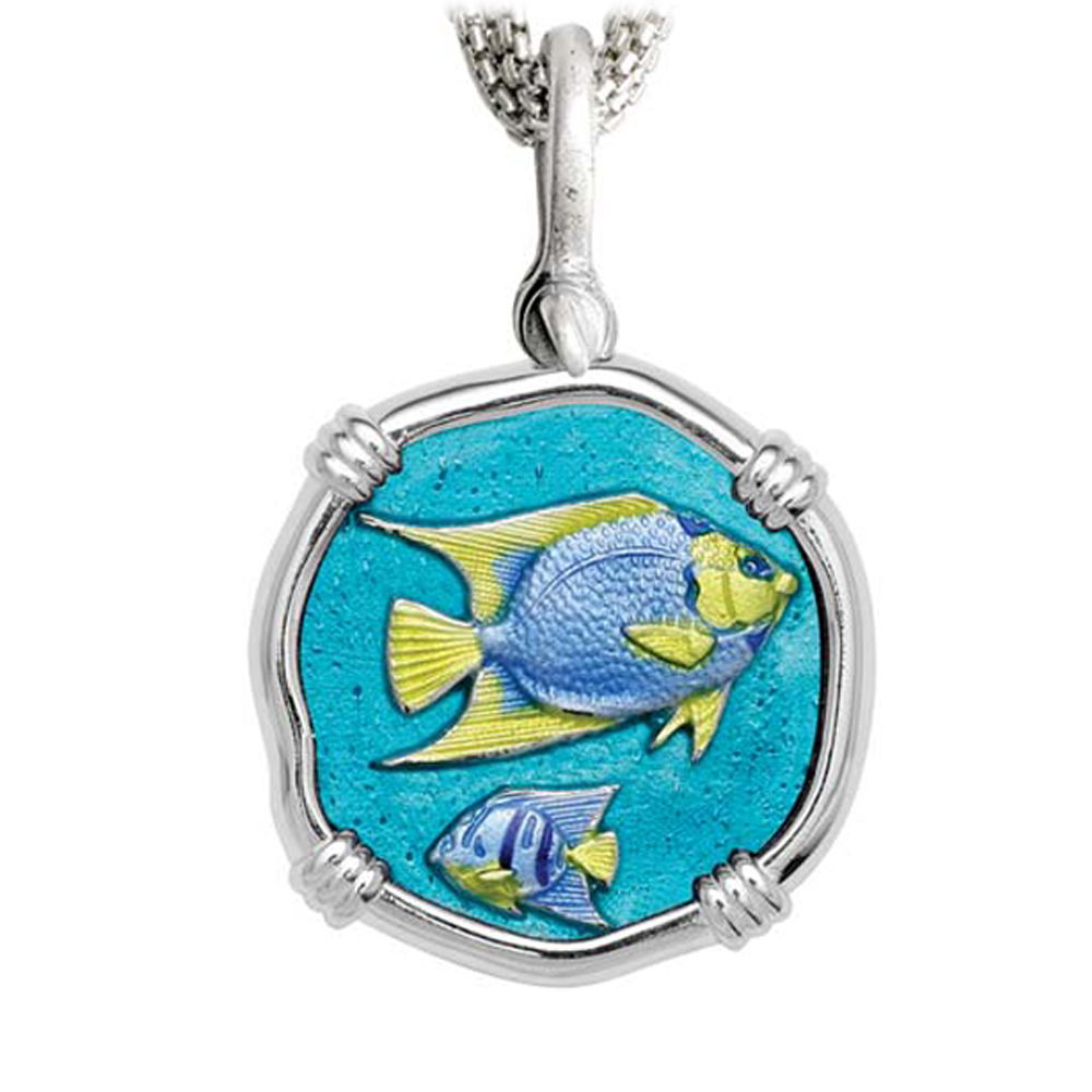 Angelfish on Five Strand Necklace Full Color Enamel Bright Finish 35mm Sterling Silver