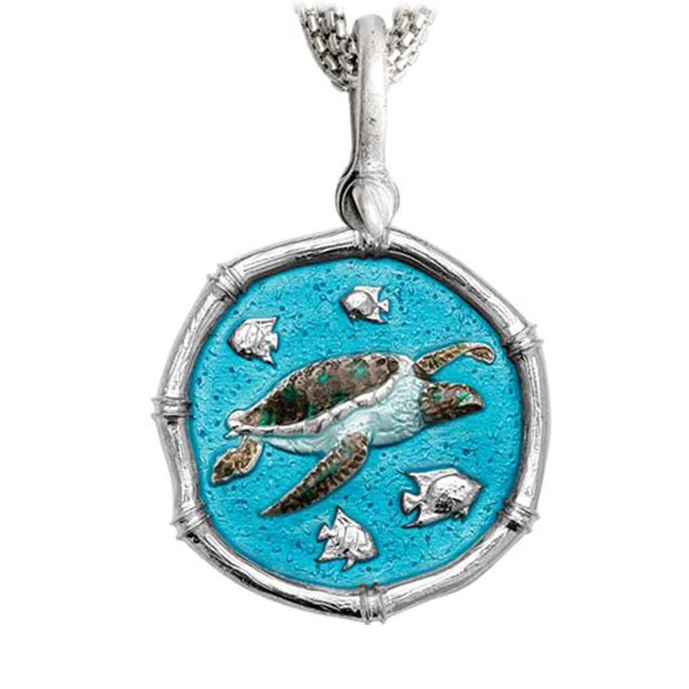 Sea Turtle on Five Strand Necklace Full Color Enamel Bright Finish 35mm Sterling Silver