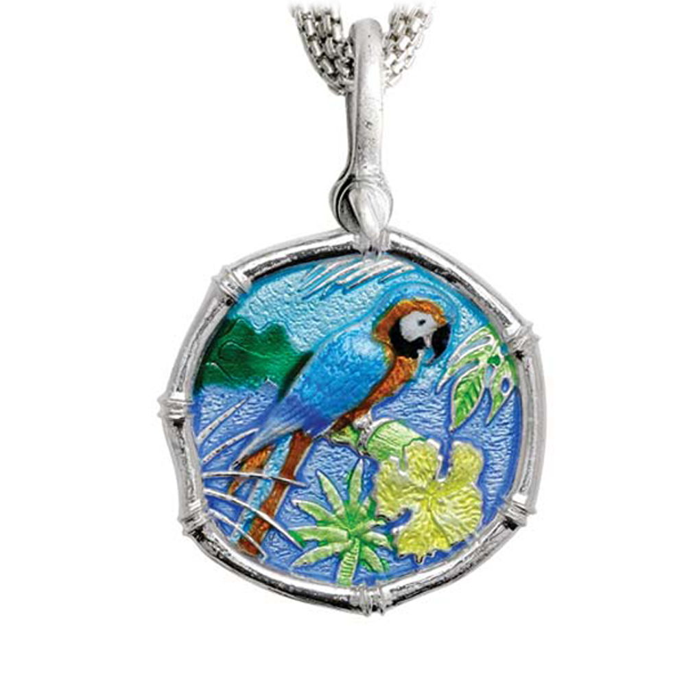 Macaw on Five Strand Necklace Full Color Enamel Bright Finish 35mm Sterling Silver