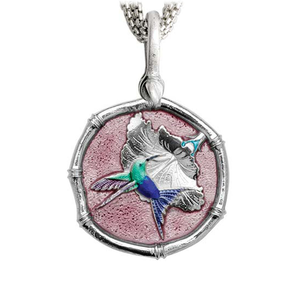 Guy Harvey Hummingbird Sterling Silver on Five Strand Necklace Full Color Pink Enamel