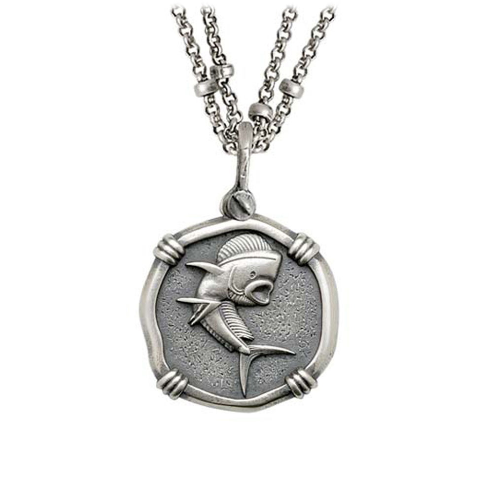Guy Harvey Dolphin on Double Stranded Necklace Relic Finish 25mm Sterling Silver