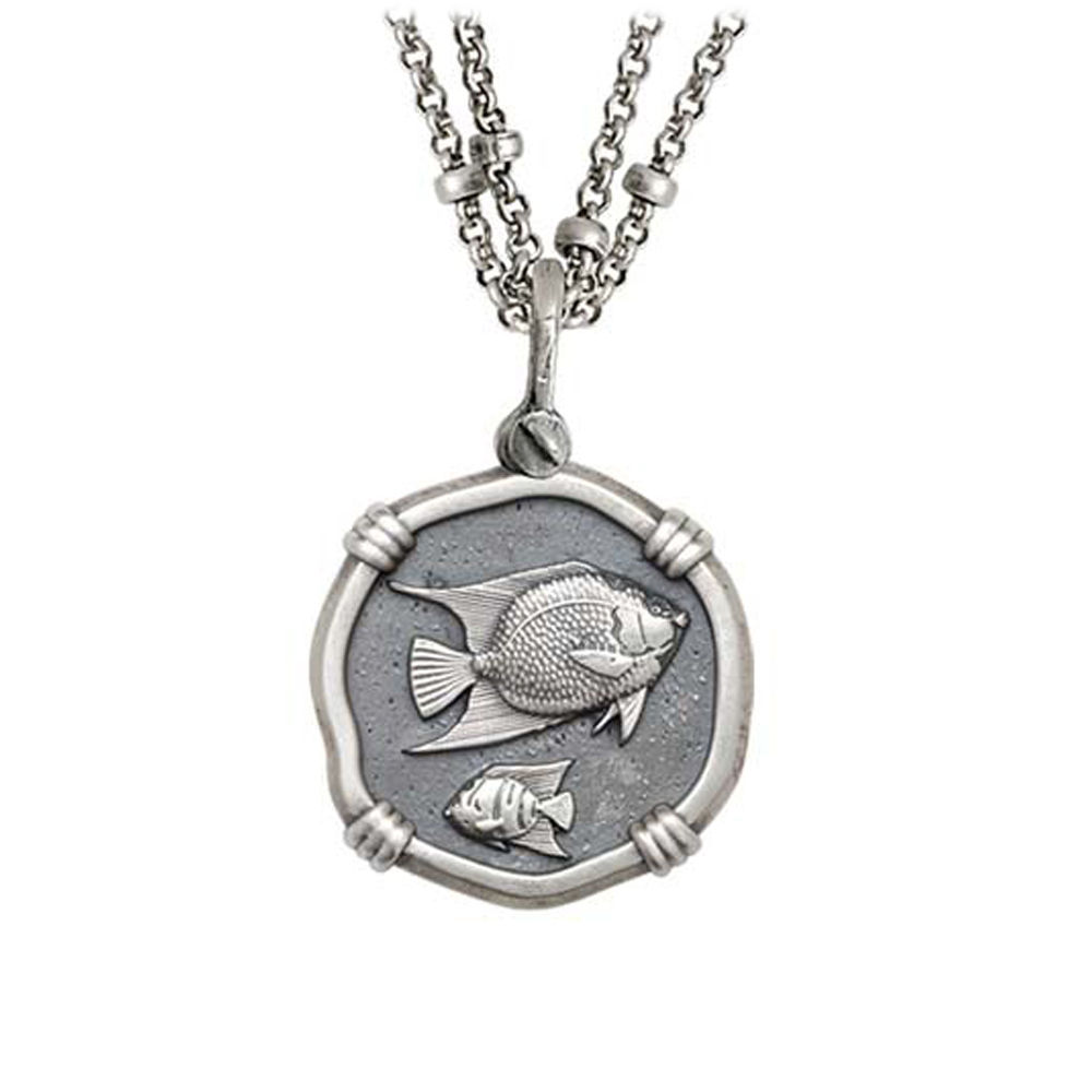 Guy Harvey Angelfish on Double Stranded Necklace Relic Finish 25mm Sterling Silver