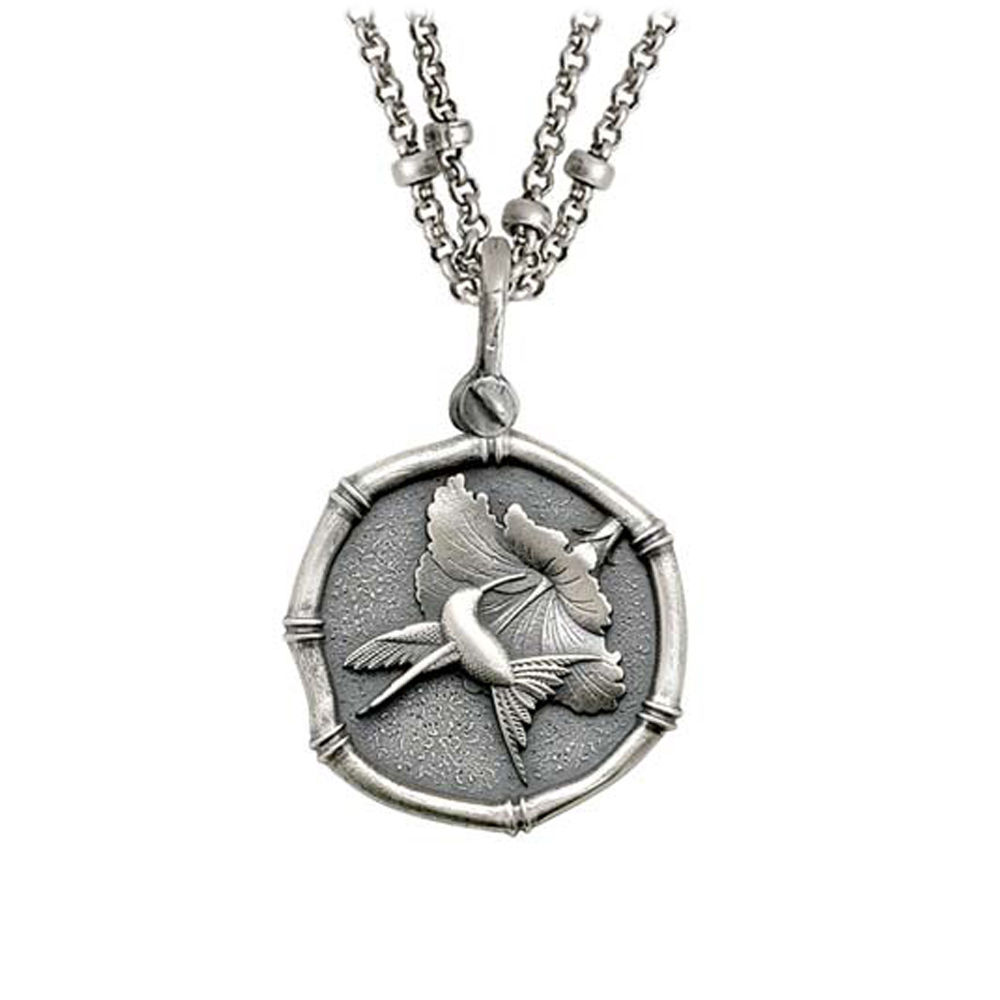 Guy Harvey Hummingbird Sterling Silver on Double Stranded Necklace Relic Finish 25mm Sterling Silver