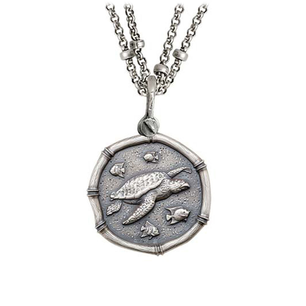 Guy Harvey Sea Turtle on Double Stranded Necklace Relic Finish 25mm Sterling Silver