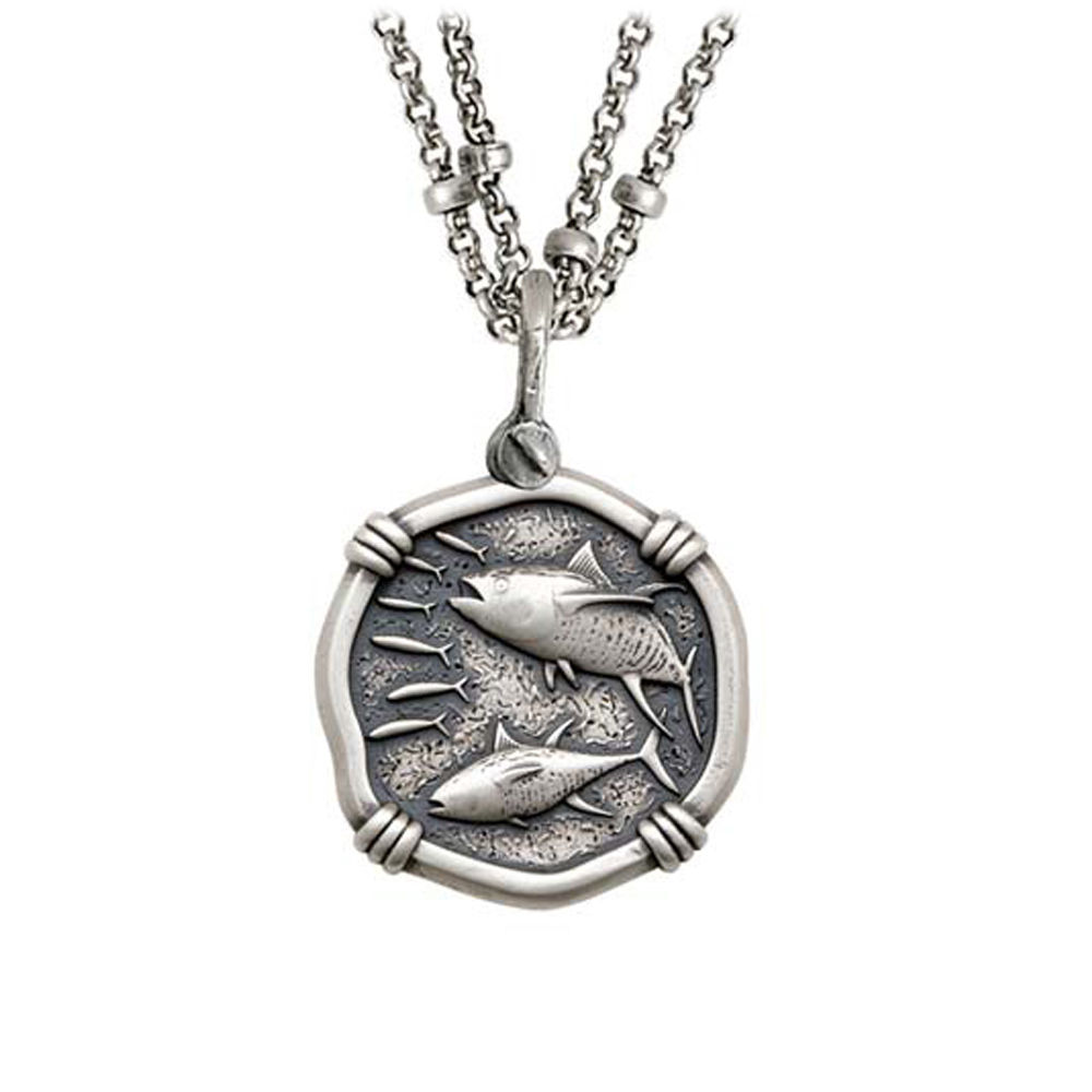 Guy Harvey Tuna on Double Stranded Necklace Relic Finish 25mm Sterling Silver