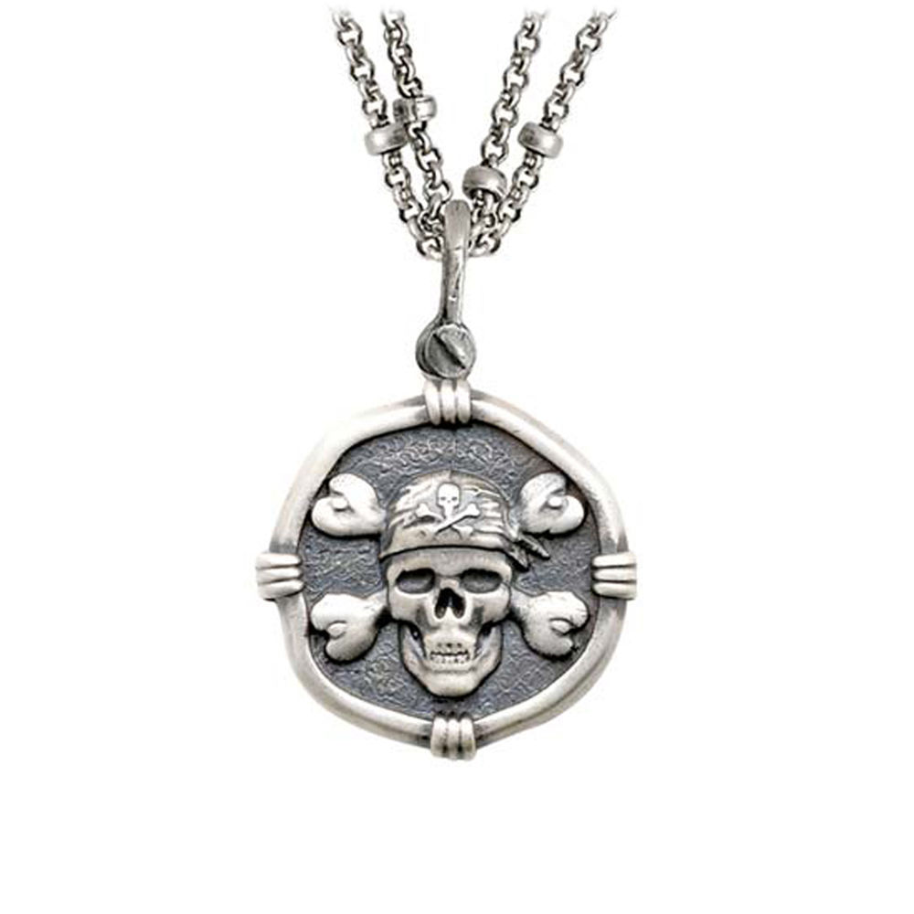 Guy Harvey Pirate on Double Stranded Necklace Relic Finish 25mm Sterling Silver