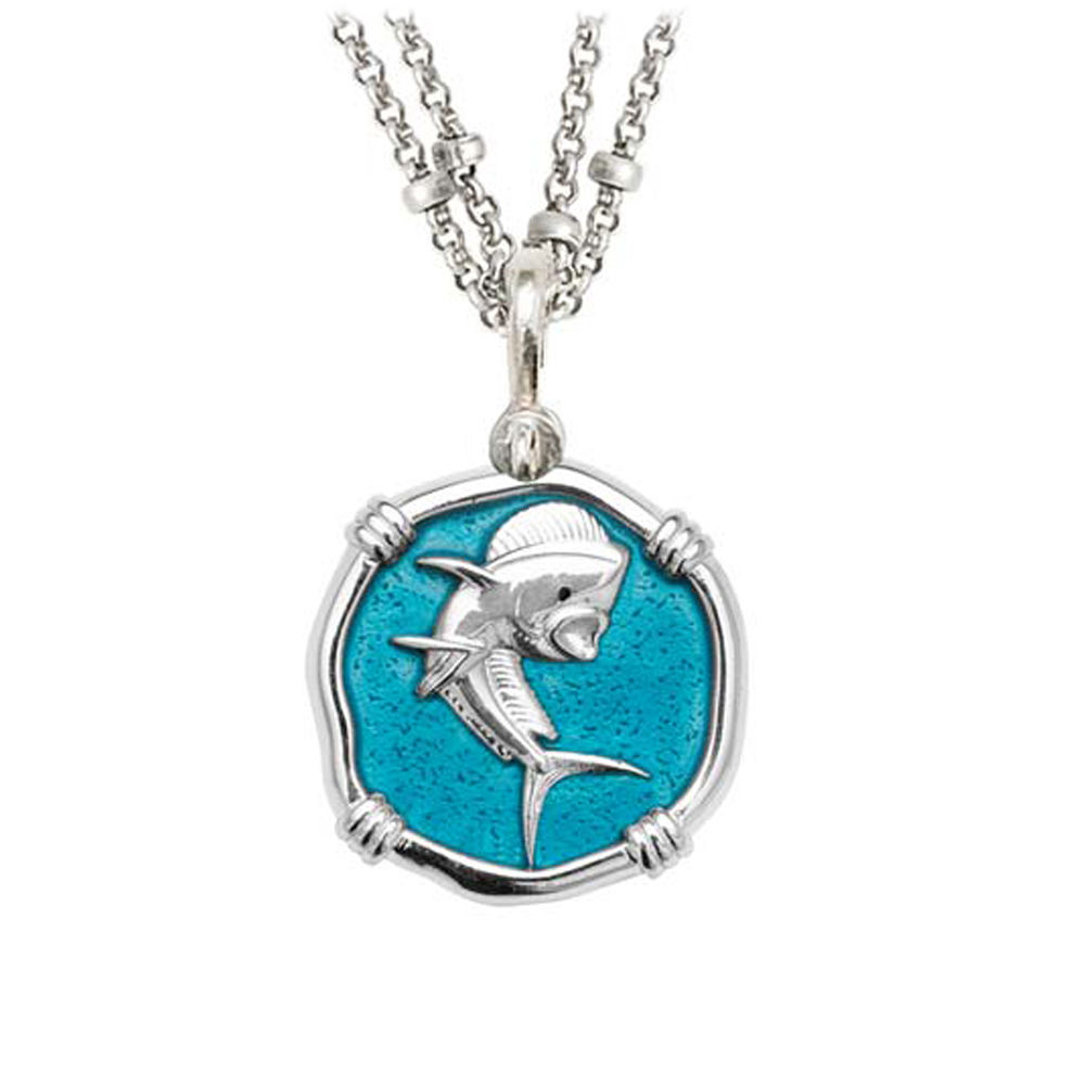 Guy Harvey Dolphin on Double Stranded Necklace Cayman Green Enamel Bright Finish 25mm Sterling Silve