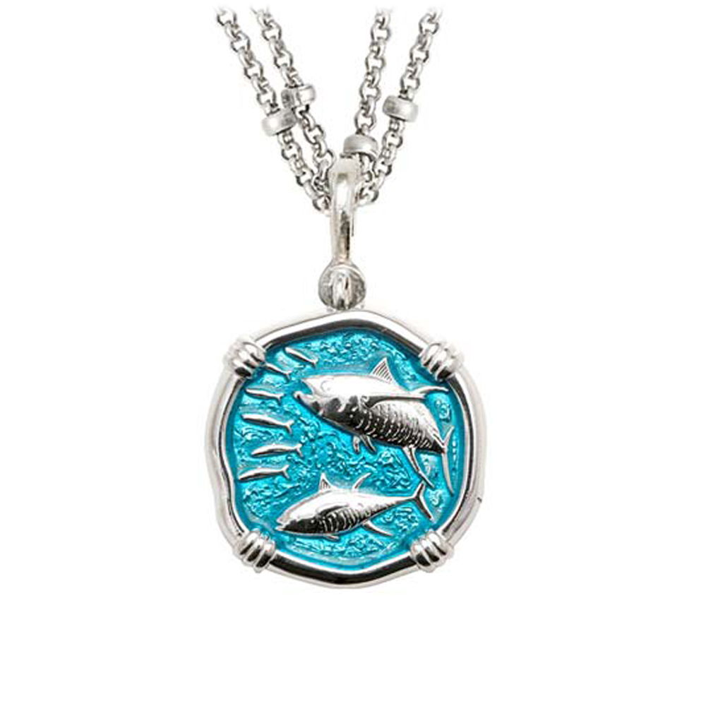 Guy Harvey Tuna on Double Stranded Necklace Cayman Green Enamel Bright Finish 25mm Sterling Silver