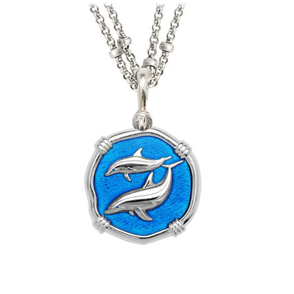 Guy Harvey Porpoises on Double Stranded Necklace Caribbean Blue Enamel 25mm Sterling Silver