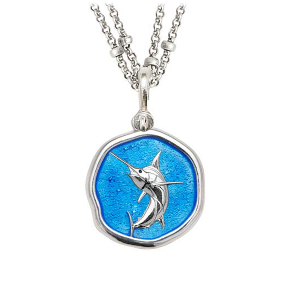 Guy Harvey Marlin on Double Stranded Necklace Caribbean Blue Enamel 25mm Sterling Silver