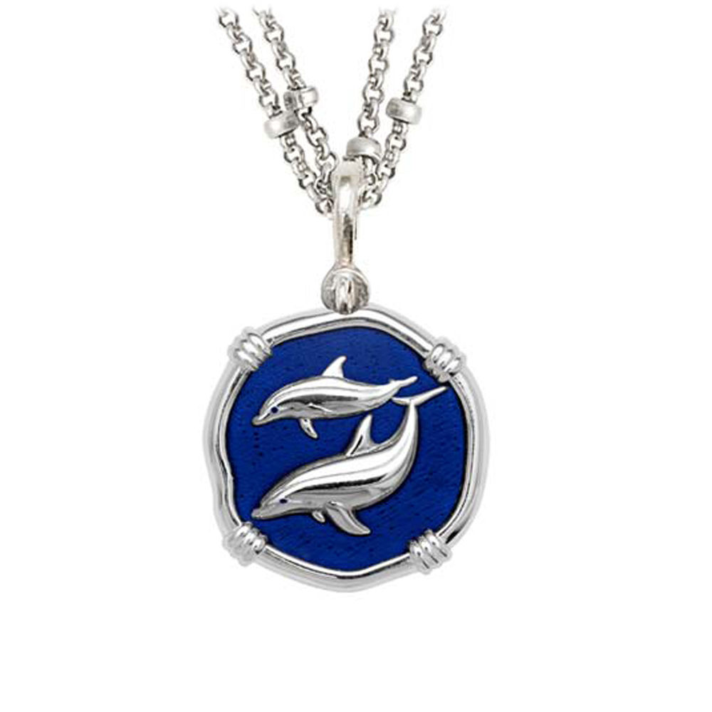 Guy Harvey Porpoises on Double Stranded Necklace Gulf Stream Blue Enamel 25mm Sterling Silver
