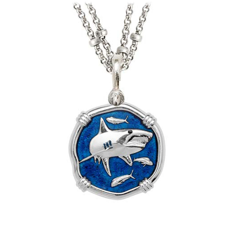 Guy Harvey Shark on Double Stranded Necklace Gulf Stream Blue Enamel 25mm Sterling Silver