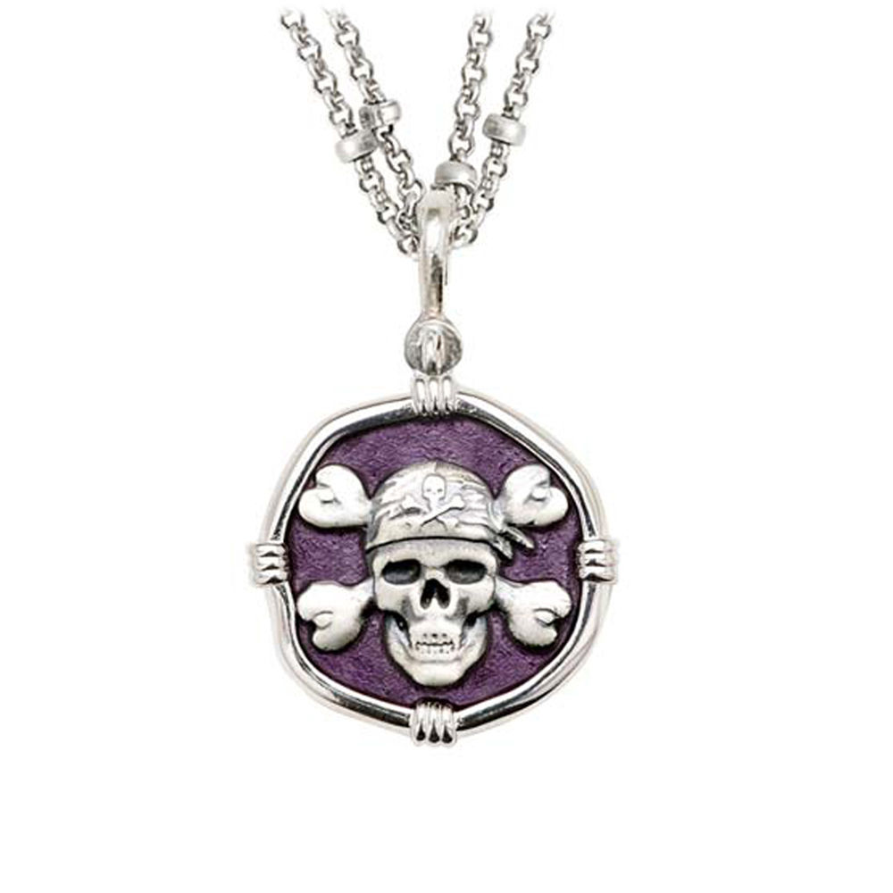 Guy Harvey Pirate on Double Stranded Necklace Purple Enamel Bright Finish 25mm Sterling Silver