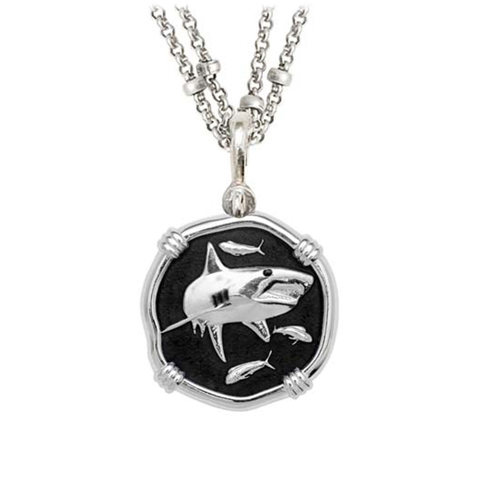 Guy Harvey Shark on Double Stranded Necklace Black Enamel Bright Finish 25mm Sterling Silver