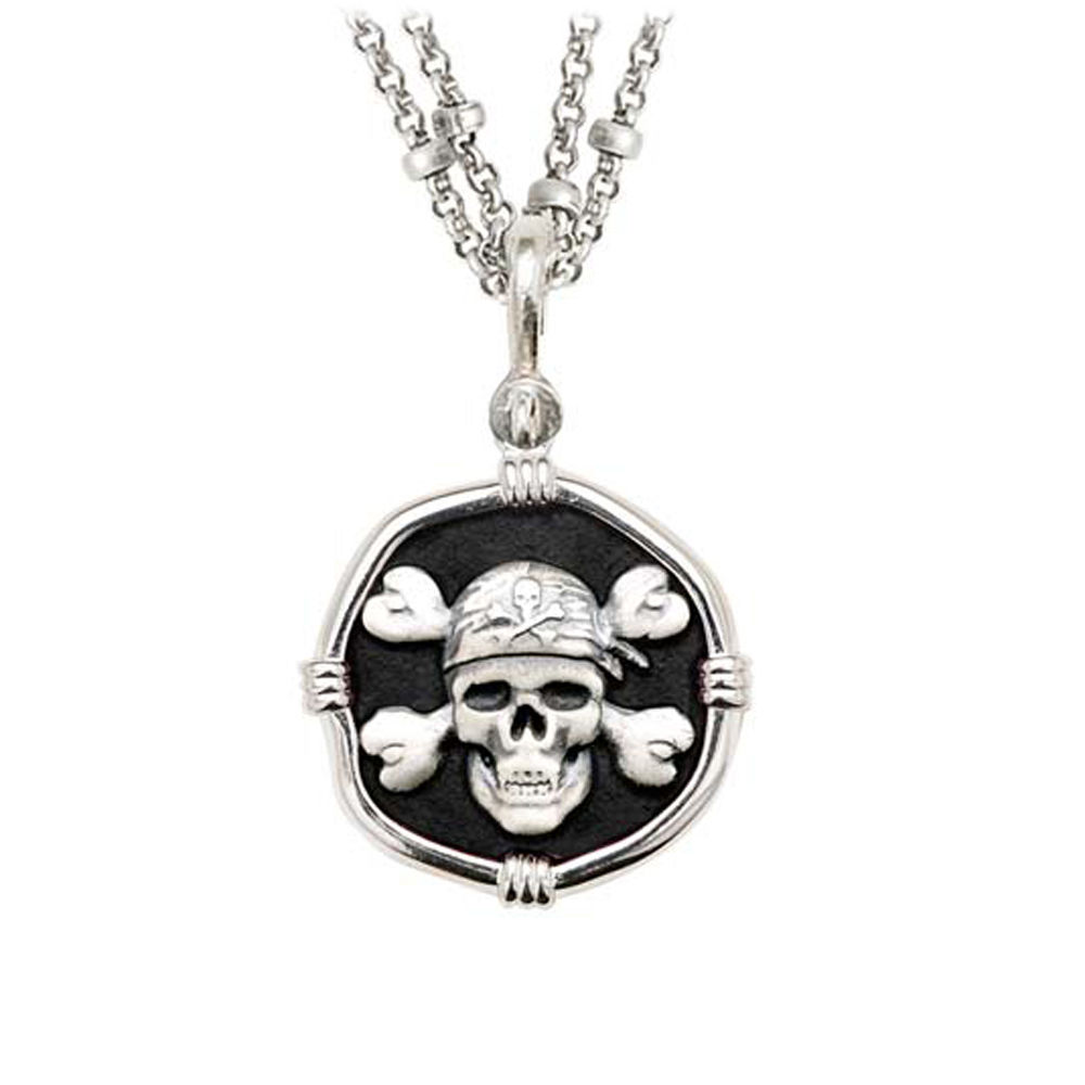Guy Harvey Pirate on Double Stranded Necklace Black Enamel Bright Finish 25mm Sterling Silver