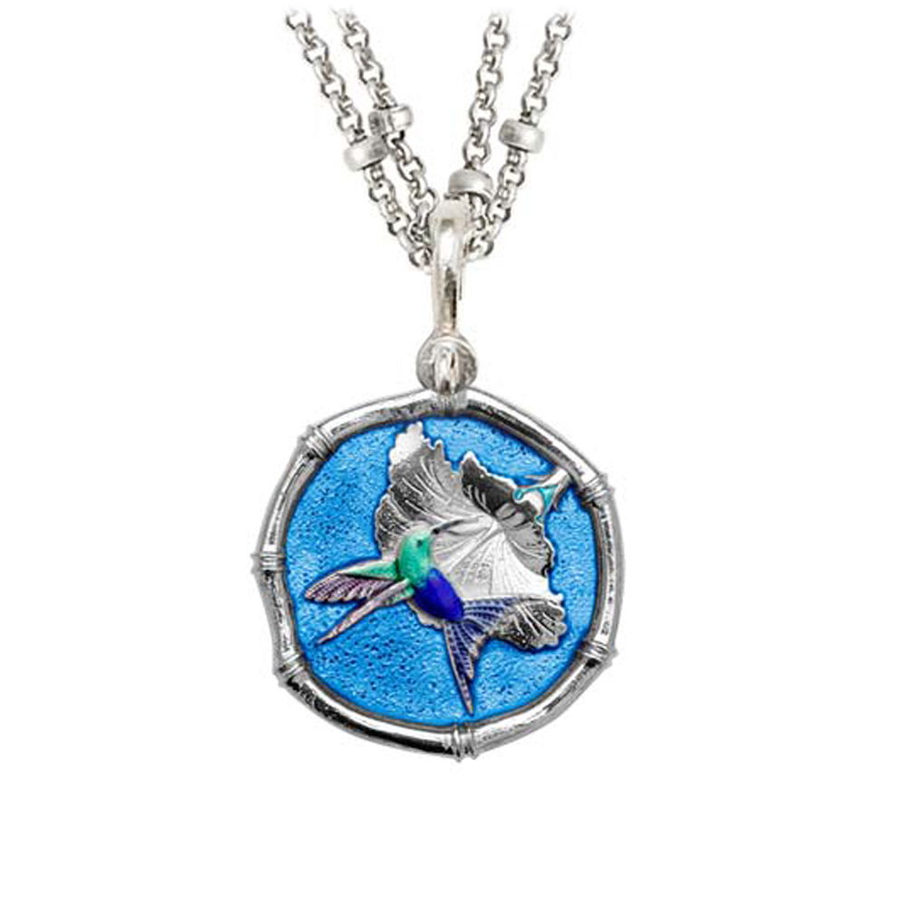 Guy Harvey Hummingbird Sterling Silver on Double Stranded Necklace Full Color Blue Enamel