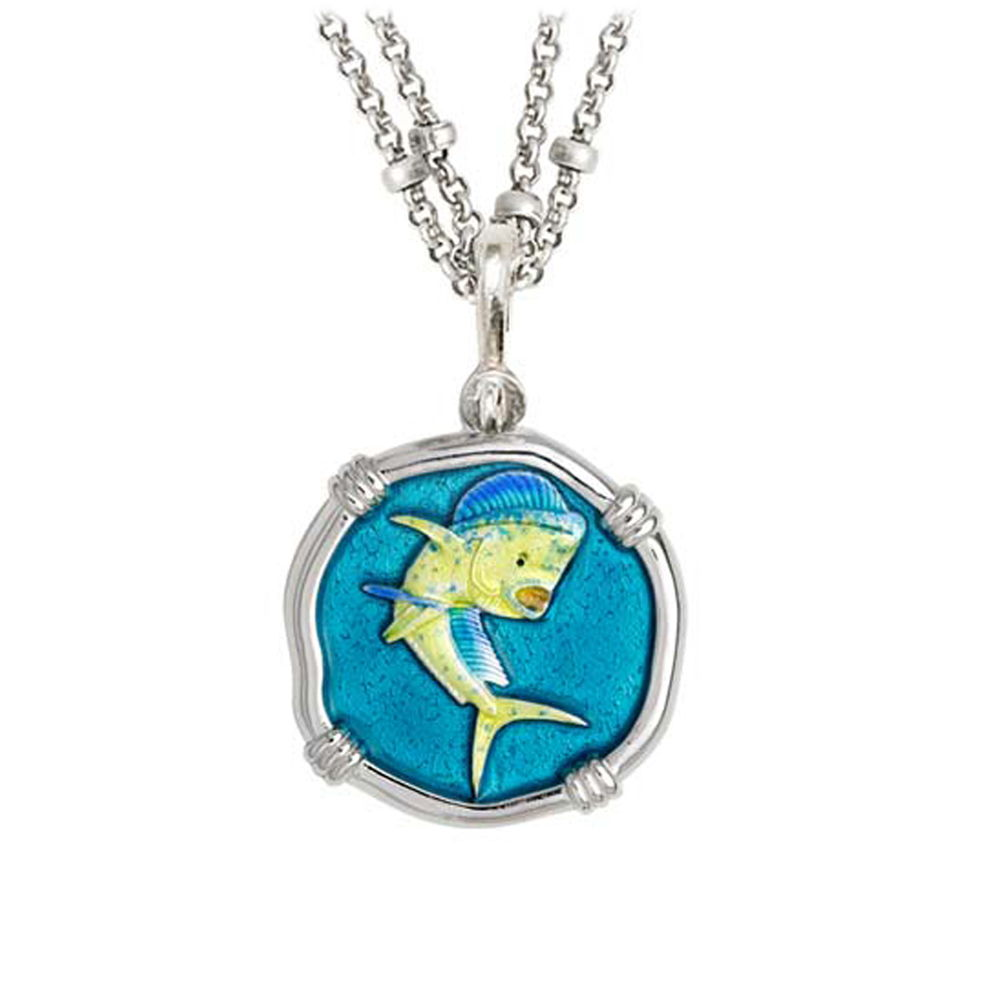 Guy Harvey Dolphin on Double Stranded Necklace Full Color Enamel Bright Finish 25mm Sterling Silver