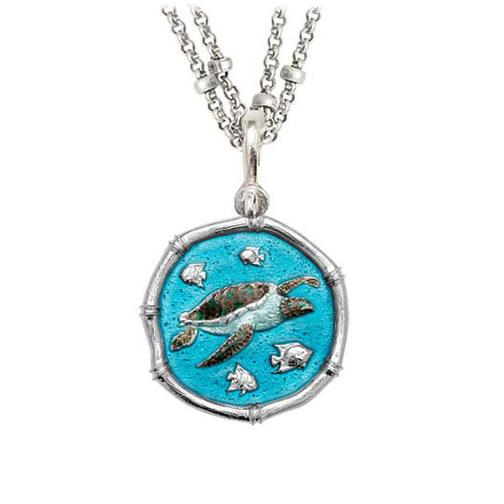 Guy Harvey Sea Turtle on Double Stranded Necklace Full Color Enamel 25mm Sterling Silver