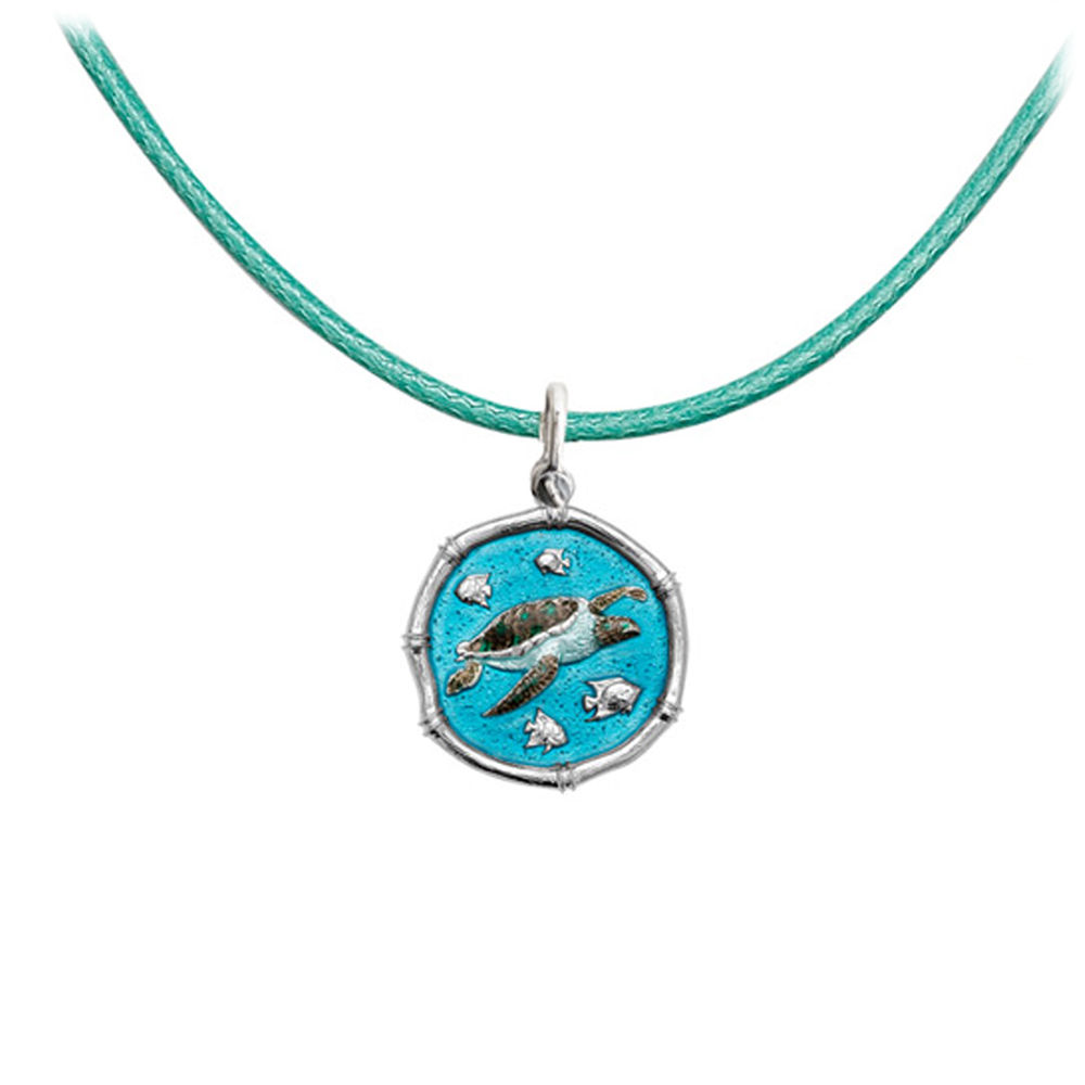 Guy Harvey Petite size Full Color enameled Sterling Silver Sea Turtle on Green Adjustable Color Cord