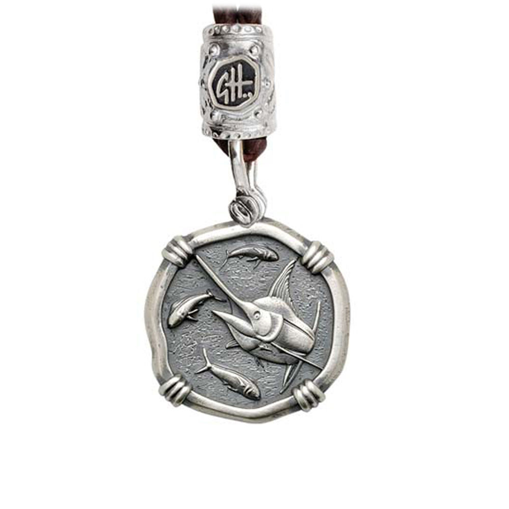 Guy Harvey Marlin on Black Leather Bolo Necklace Relic Finish 25mm Sterling Silver