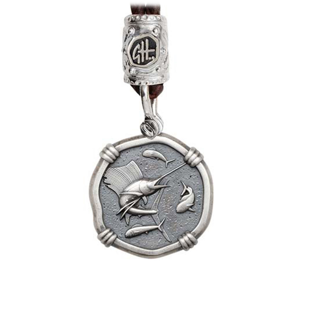 Guy Harvey Sailfish on Black Leather Bolo Necklace Relic Finish 25mm Sterling Silver