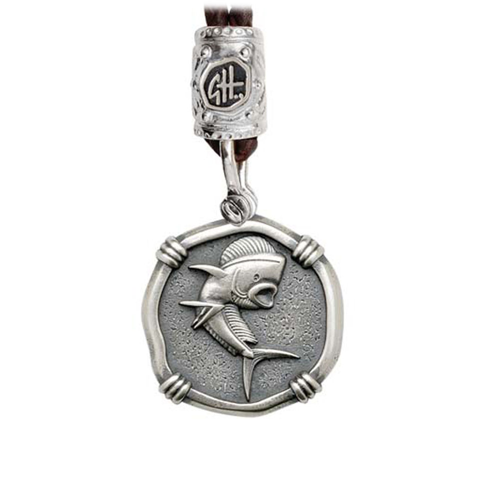 Guy Harvey Dolphin on Black Leather Bolo Necklace Relic Finish 25mm Sterling Silver