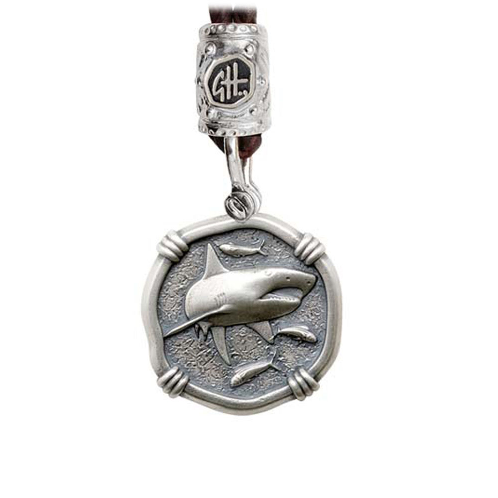 Guy Harvey Shark on Black Leather Bolo Necklace Relic Finish 25mm Sterling Silver