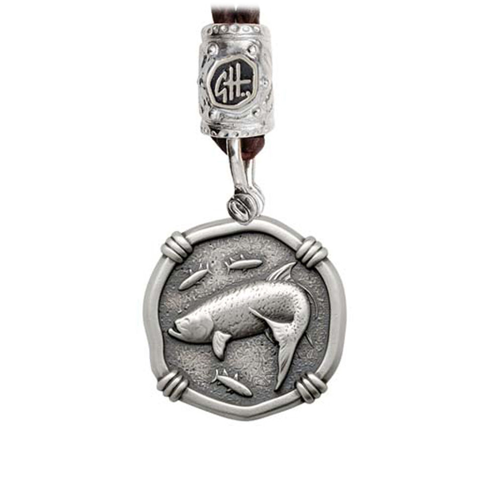 Guy Harvey Tarpon on Black Leather Bolo Necklace Relic Finish 25mm Sterling Silver