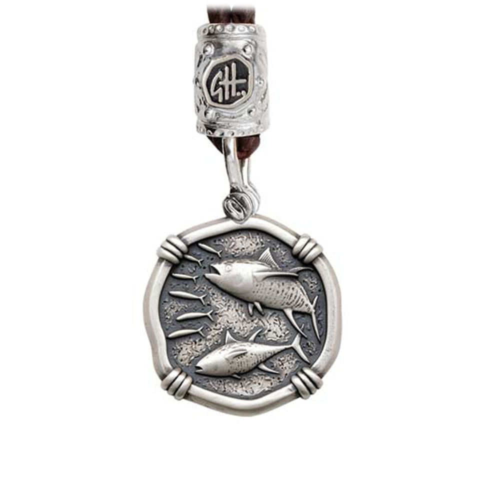 Guy Harvey Tuna on Black Leather Bolo Necklace Relic Finish 25mm Sterling Silver
