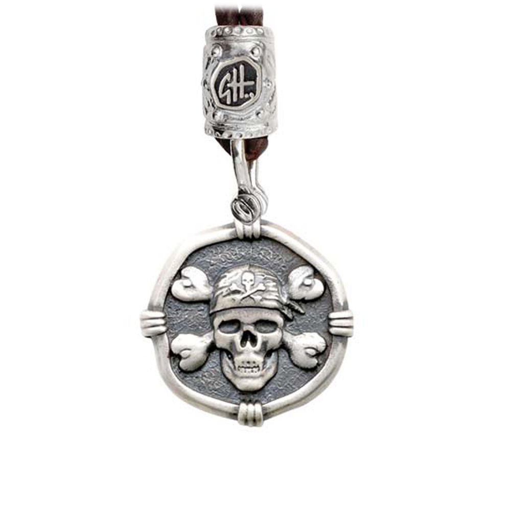 Guy Harvey Pirate on Black Leather Bolo Necklace Relic Finish 25mm Sterling Silver