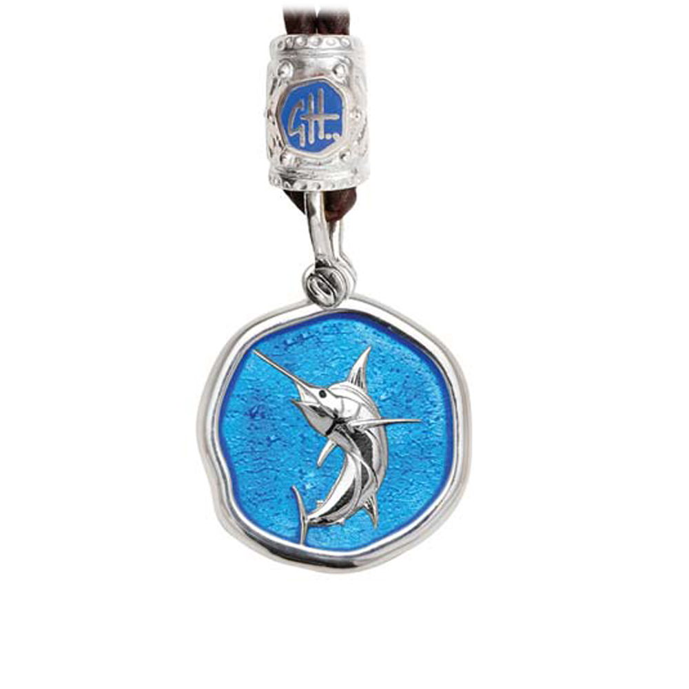 Guy Harvey Marlin on Black Leather Bolo Necklace Caribbean Blue Enamel 25mm Sterling Silver