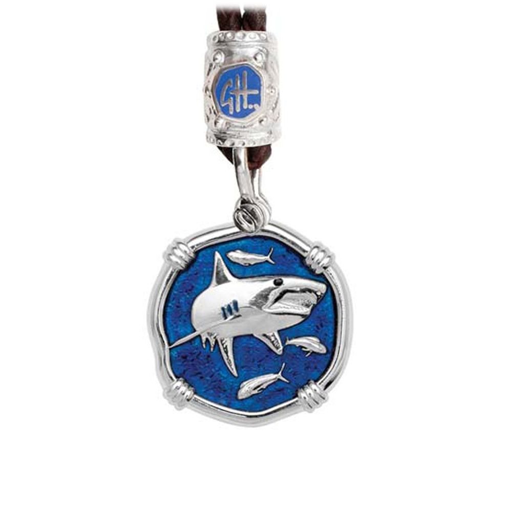 Guy Harvey Shark on Black Leather Bolo Necklace Gulf Stream Blue Enamel 25mm Sterling Silver