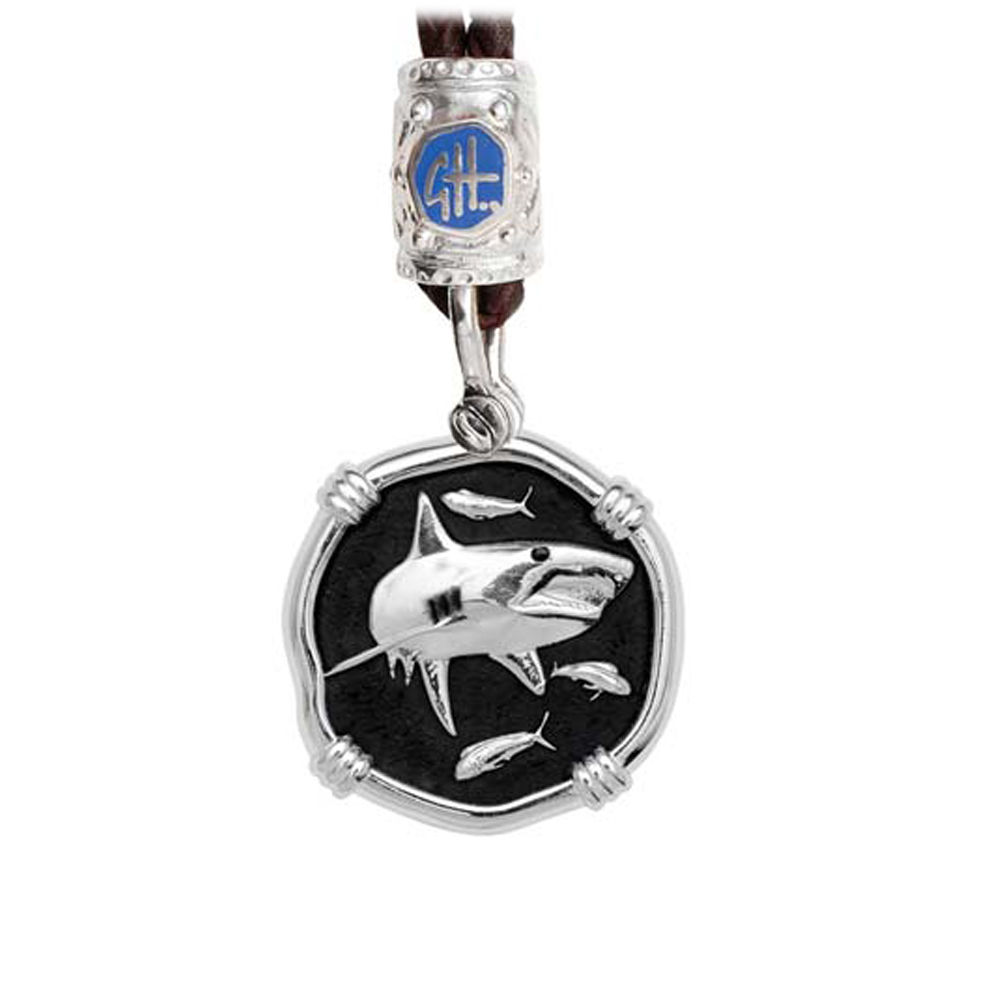 Guy Harvey Shark on Black Leather Bolo Necklace Black Enamel Bright Finish 25mm Sterling Silver