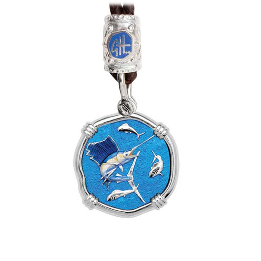 Guy Harvey Sailfish on Black Leather Bolo Necklace Full Color Enamel 25mm Sterling Silver