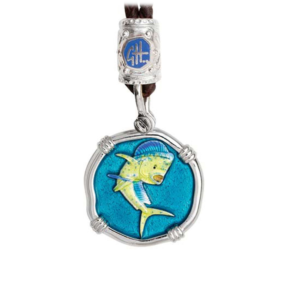 Guy Harvey Dolphin on Black Leather Bolo Necklace Full Color Enamel 25mm Sterling Silver